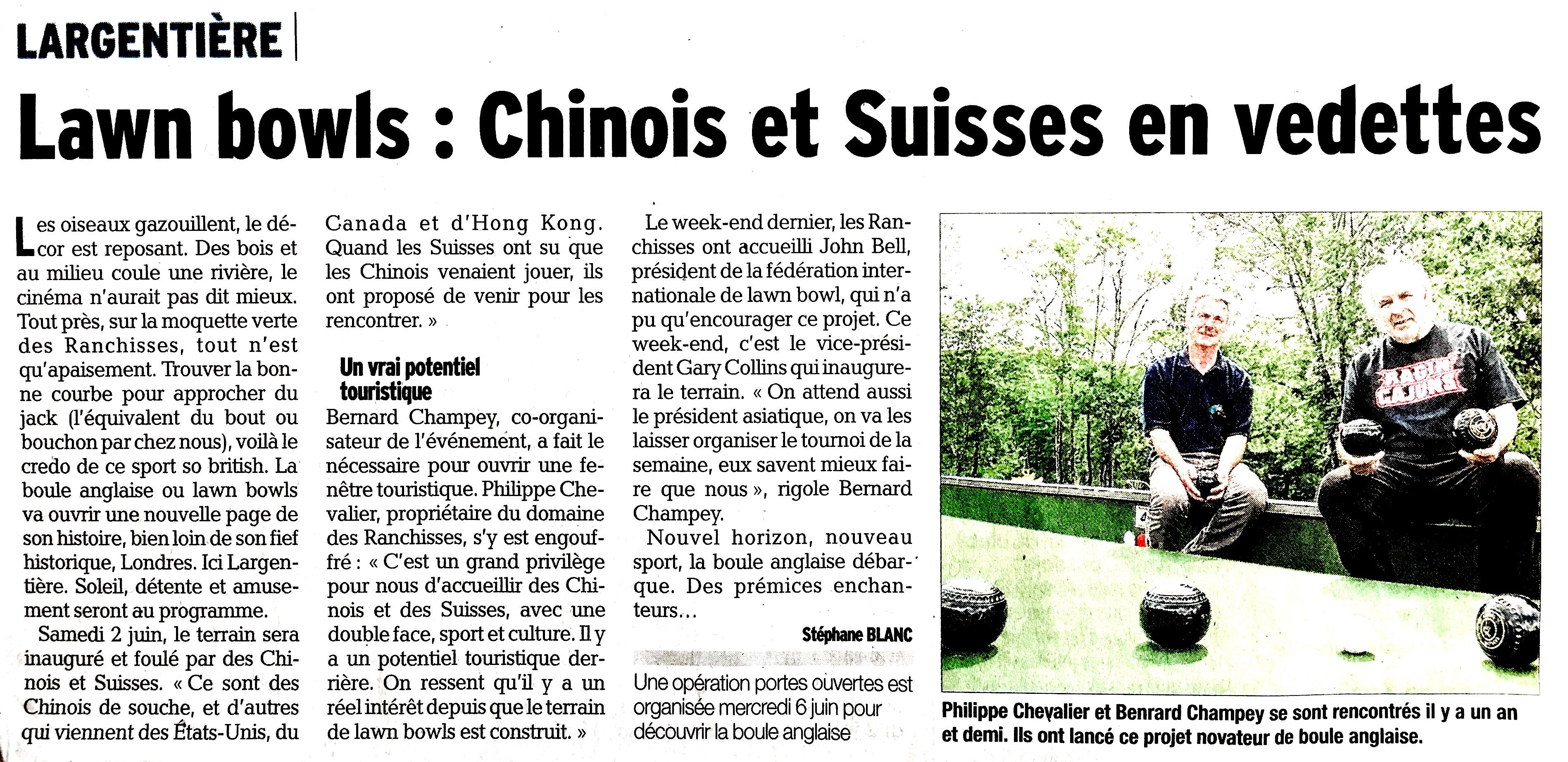 Lawn Bowls : Chinois et Suisses en vedettes