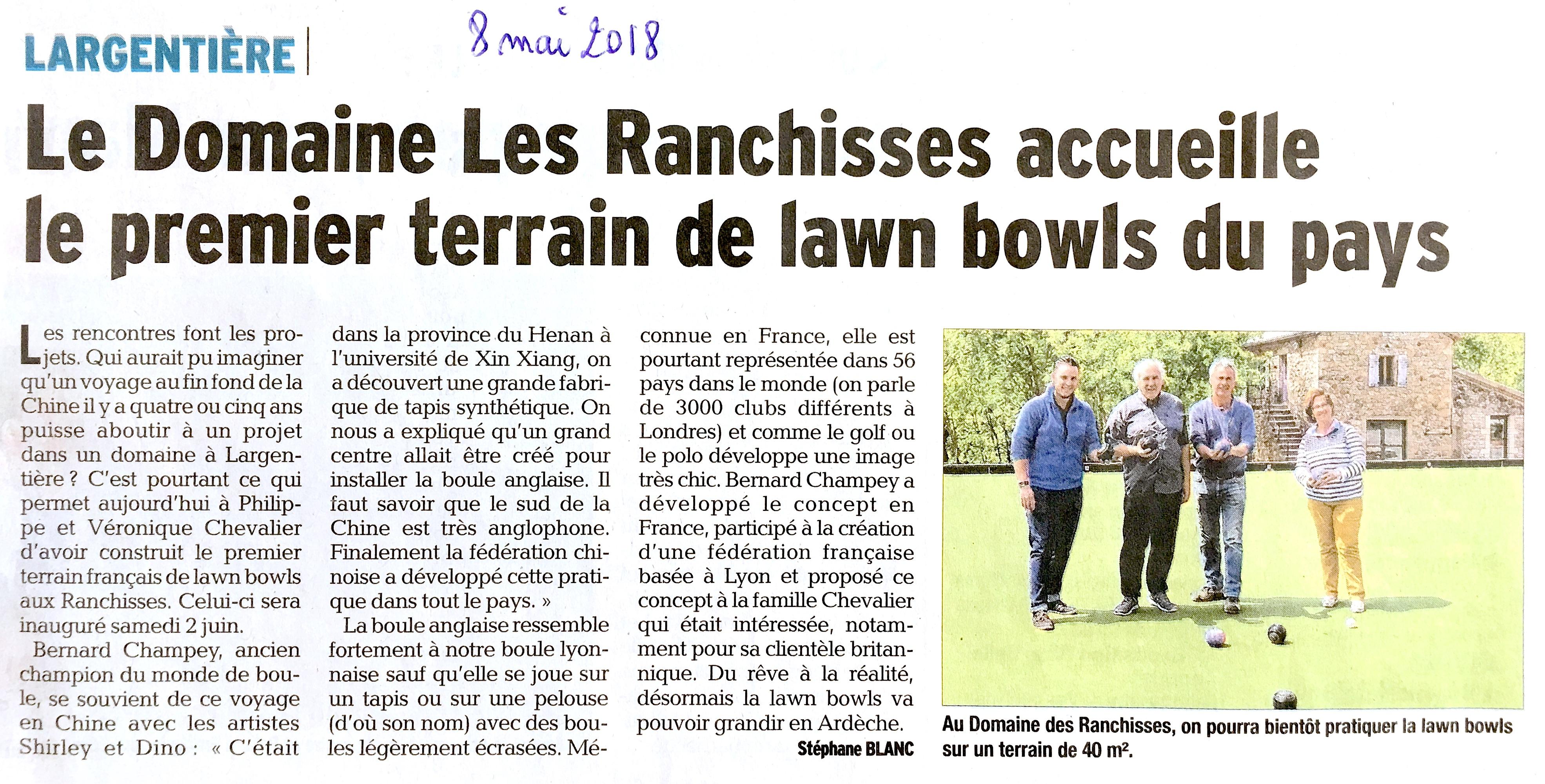 Le Domaine des Ranchisses accueil le premier terrain de lawn bowls du pays