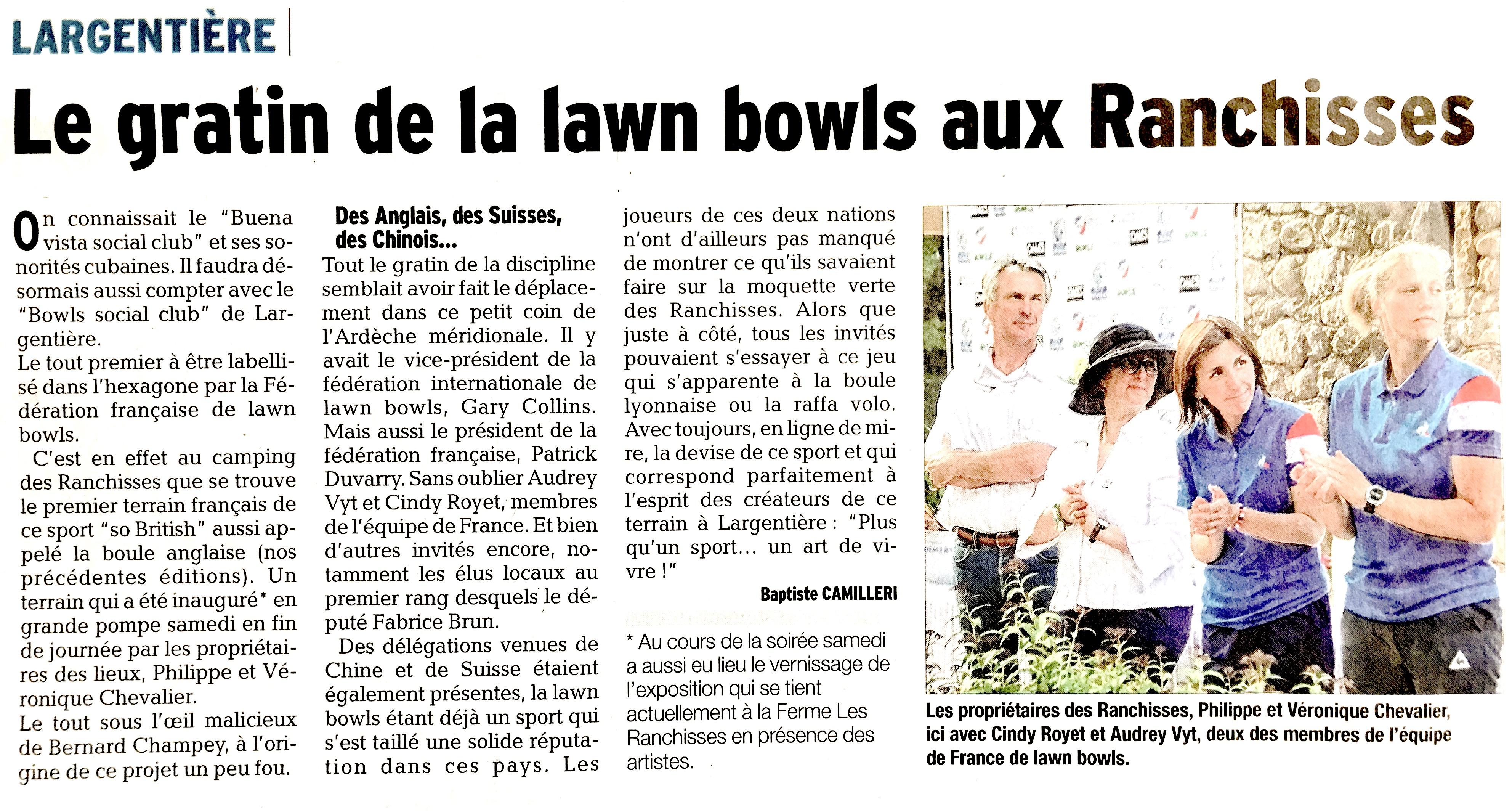 Le gratin de la lawn bowls aux Ranchisses